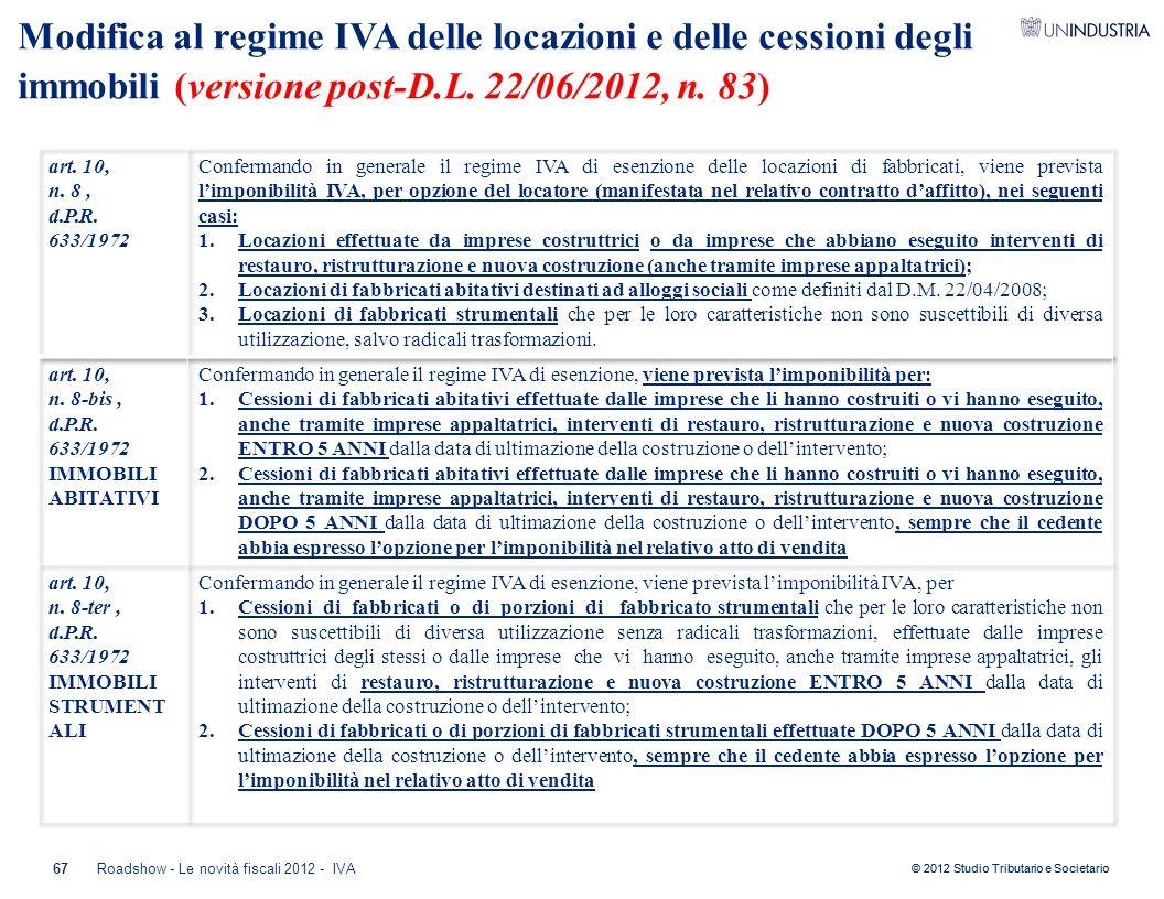 Modifica al regime IVA delle locazioni e delle cessioni degli immobili (versione post-D.L. 22/06/2012, n. 83)