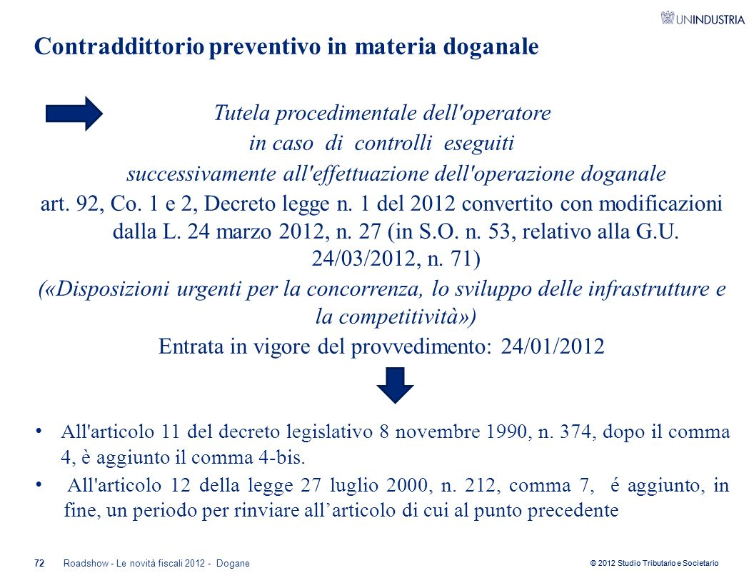 Contraddittorio preventivo in materia doganale