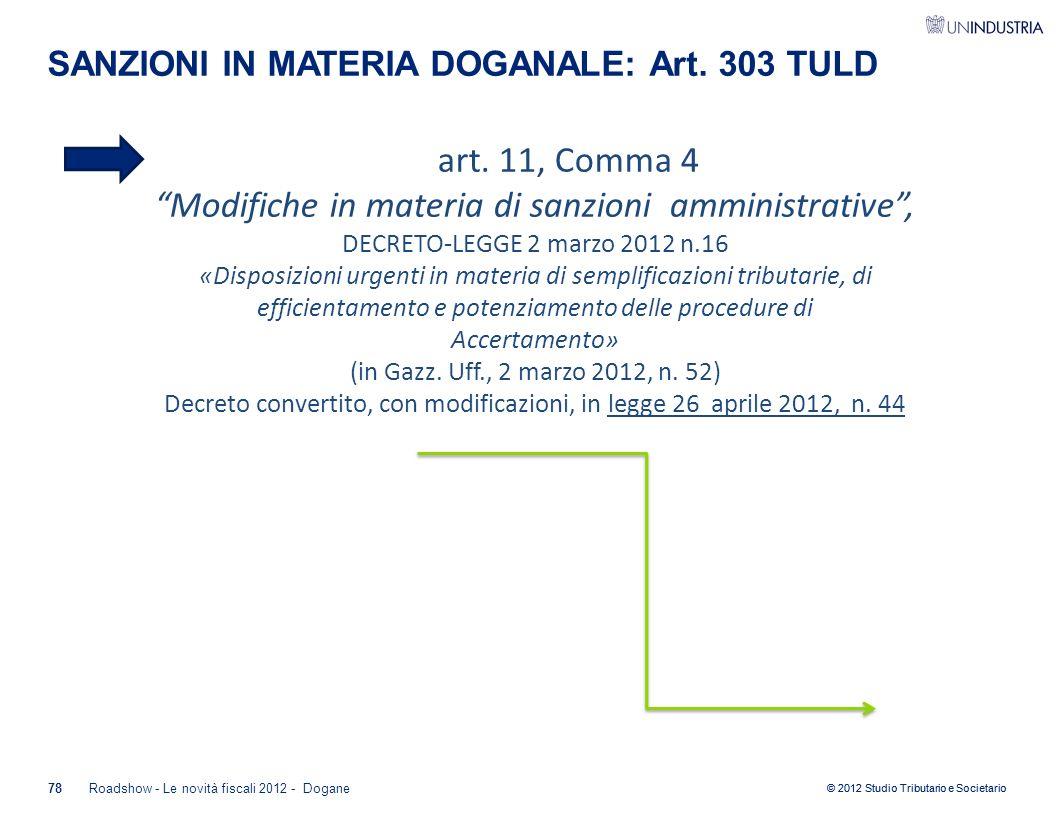 SANZIONI IN MATERIA DOGANALE: Art. 303 TULD