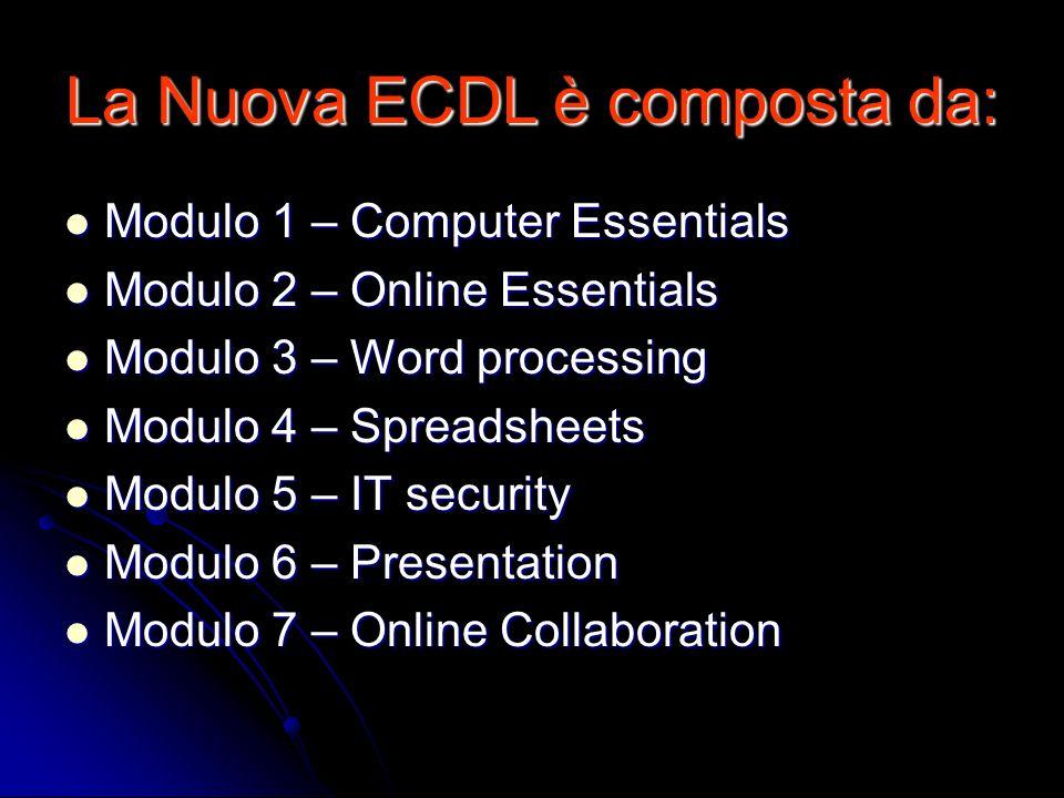 La Nuova ECDL è composta da: