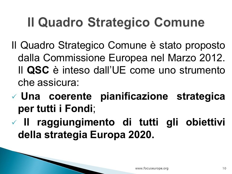 Il Quadro Strategico Comune