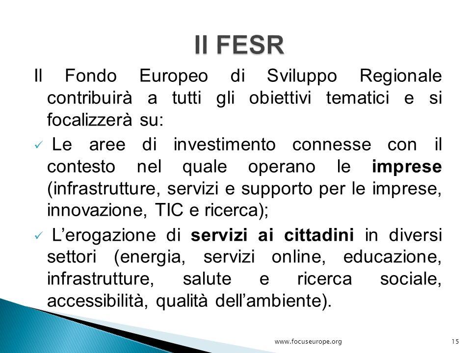 Il FESR Il Fondo Europeo di Sviluppo Regionale contribuirà a tutti gli obiettivi tematici e si focalizzerà su: