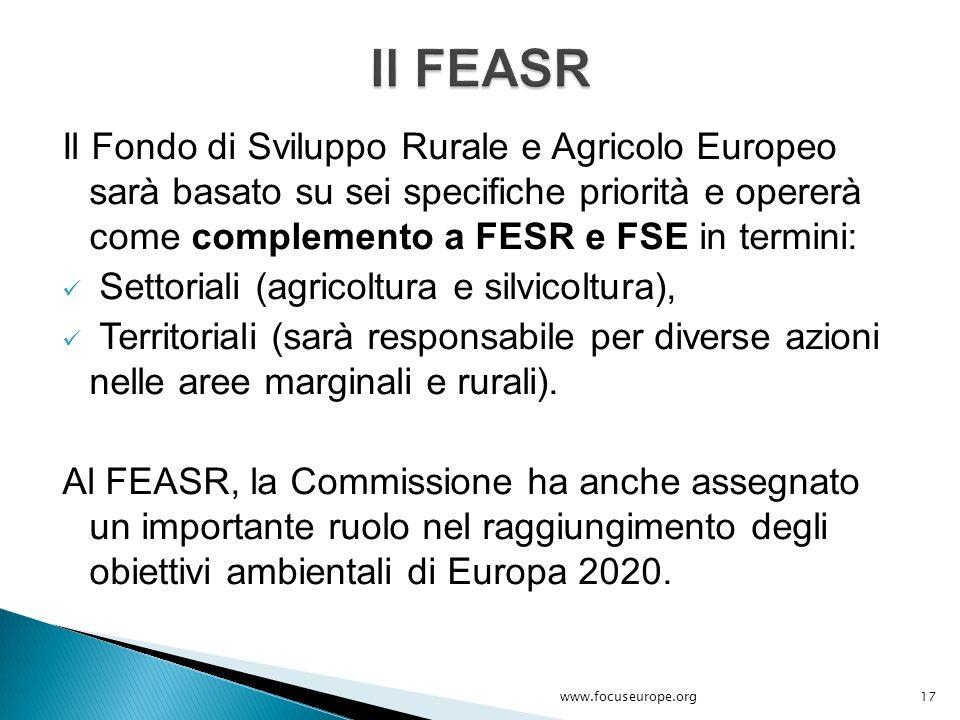 Il FEASR Il Fondo di Sviluppo Rurale e Agricolo Europeo sarà basato su sei specifiche priorità e opererà come complemento a FESR e FSE in termini: