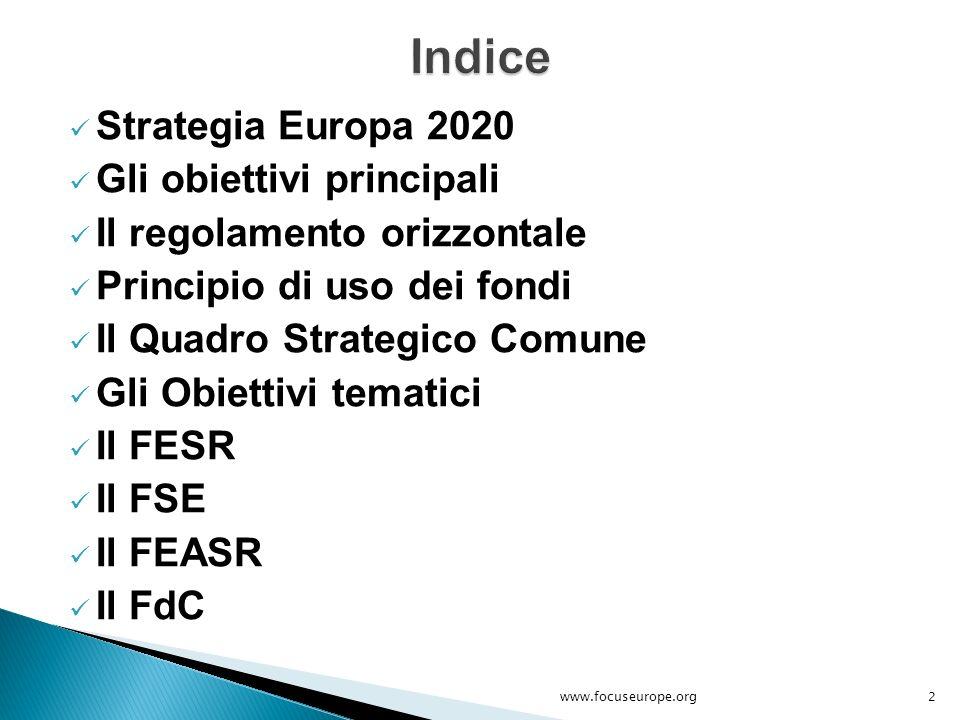 Indice Strategia Europa 2020 Gli obiettivi principali