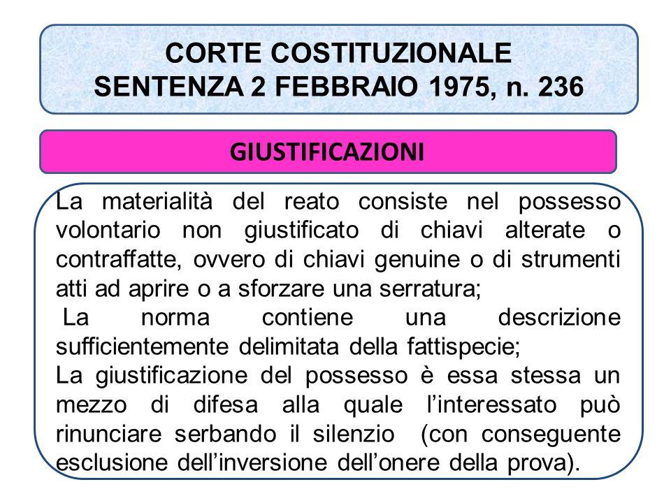 CORTE COSTITUZIONALE SENTENZA 2 FEBBRAIO 1975, n. 236