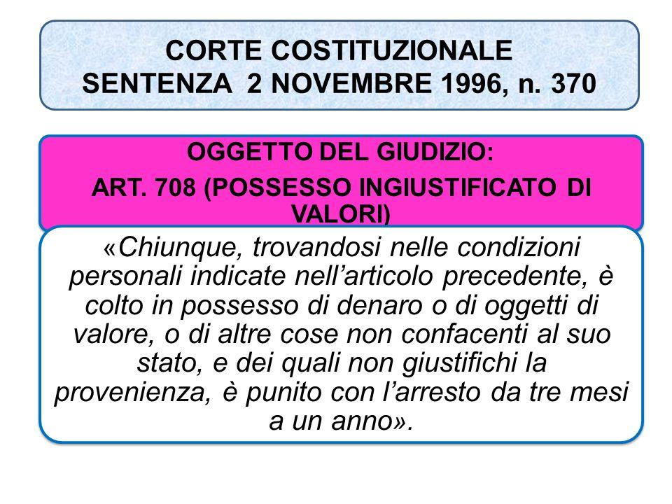 CORTE COSTITUZIONALE SENTENZA 2 NOVEMBRE 1996, n. 370