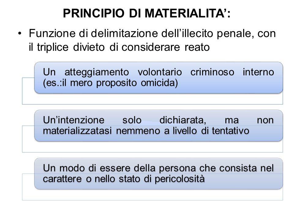 PRINCIPIO DI MATERIALITA':