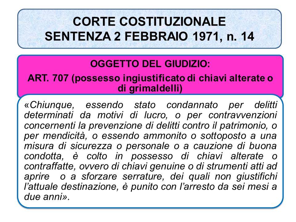 CORTE COSTITUZIONALE SENTENZA 2 FEBBRAIO 1971, n. 14