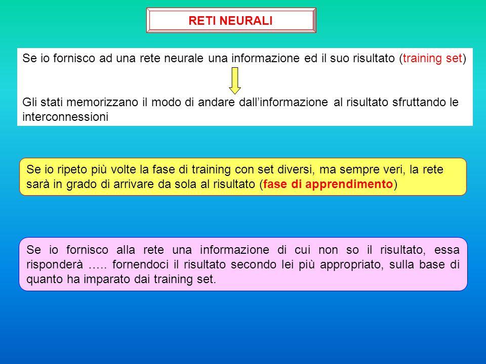 RETI NEURALI Se io fornisco ad una rete neurale una informazione ed il suo risultato (training set)