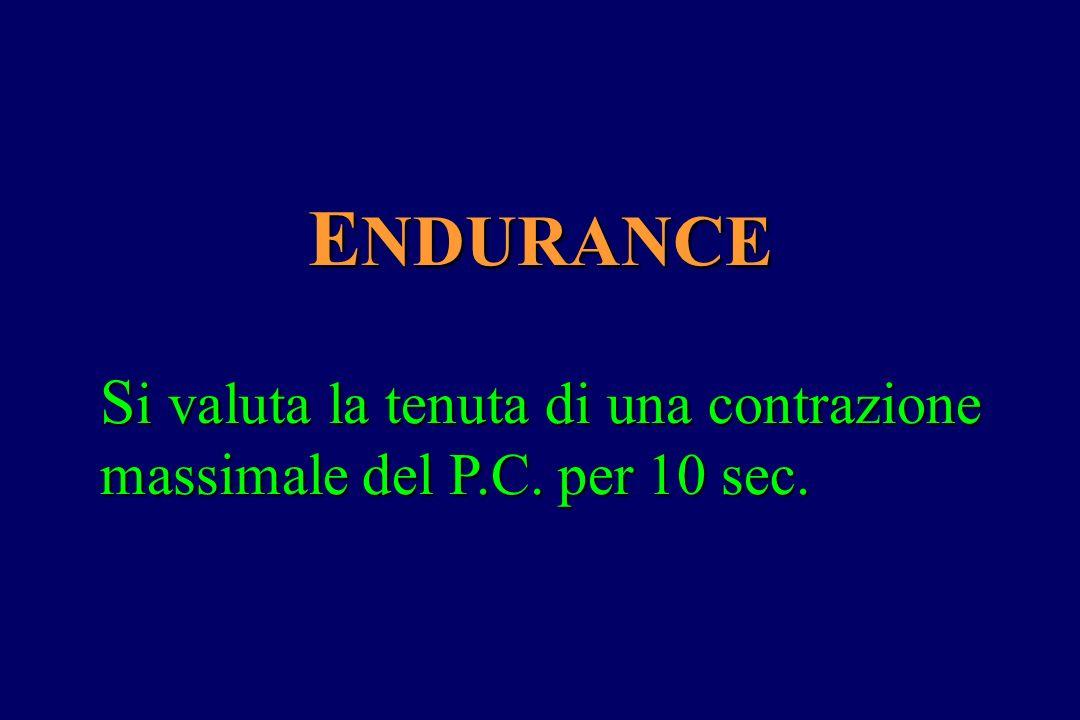 ENDURANCE Si valuta la tenuta di una contrazione massimale del P.C. per 10 sec.