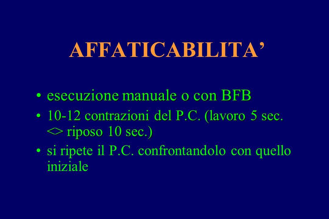 AFFATICABILITA' esecuzione manuale o con BFB