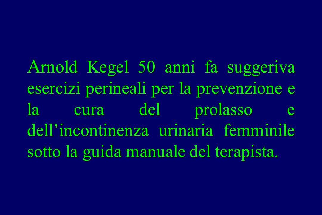Arnold Kegel 50 anni fa suggeriva esercizi perineali per la prevenzione e la cura del prolasso e dell'incontinenza urinaria femminile sotto la guida manuale del terapista.
