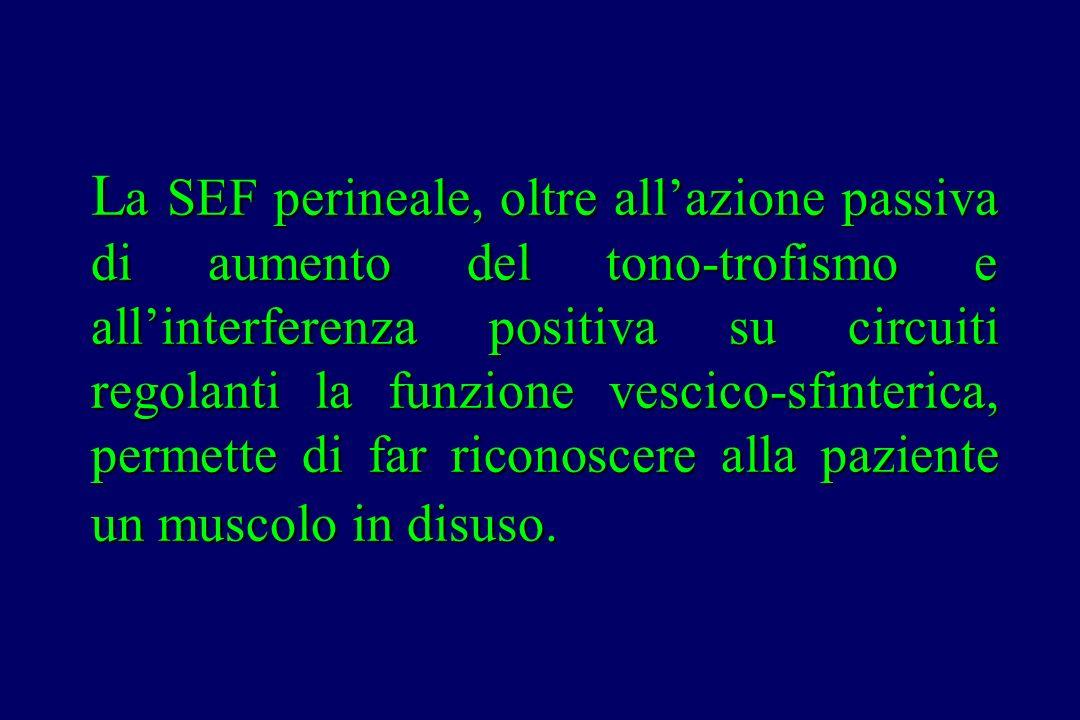 La SEF perineale, oltre all'azione passiva di aumento del tono-trofismo e all'interferenza positiva su circuiti regolanti la funzione vescico-sfinterica, permette di far riconoscere alla paziente un muscolo in disuso.