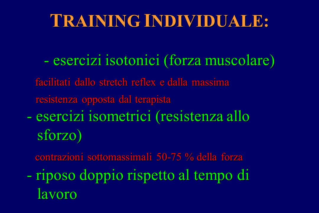 TRAINING INDIVIDUALE: