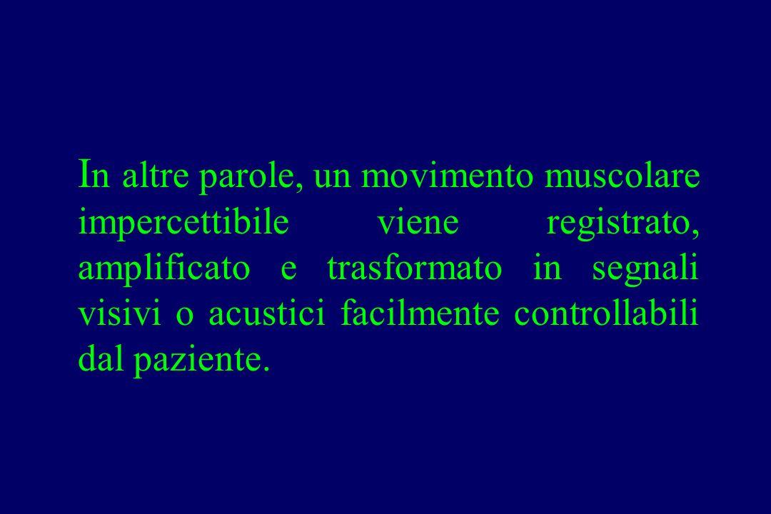 In altre parole, un movimento muscolare impercettibile viene registrato, amplificato e trasformato in segnali visivi o acustici facilmente controllabili dal paziente.