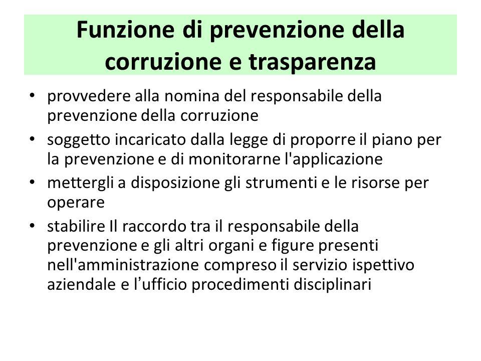 Funzione di prevenzione della corruzione e trasparenza