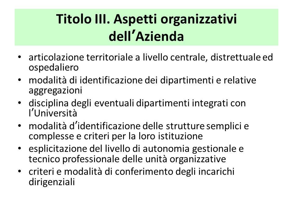 Titolo III. Aspetti organizzativi dell'Azienda
