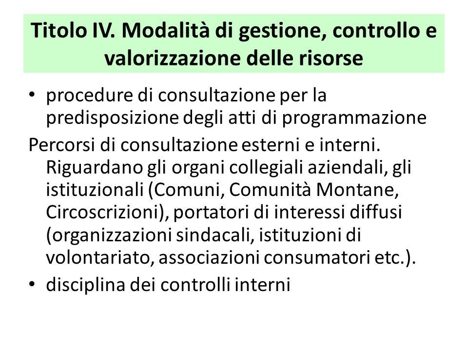 Titolo IV. Modalità di gestione, controllo e valorizzazione delle risorse