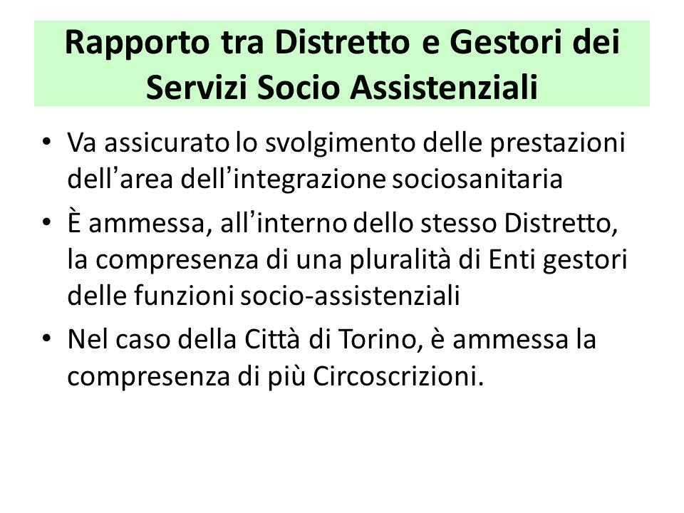 Rapporto tra Distretto e Gestori dei Servizi Socio Assistenziali