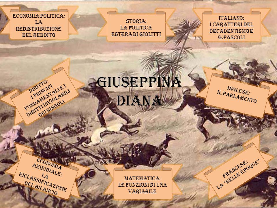 GIUSEPPINA DIANA ECONOMIA POLITICA: ITALIANO: