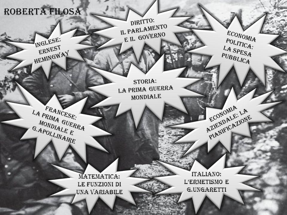 Roberta Filosa DIRITTO: Il PARLAMENTO E il GOVERNO Economia politica: