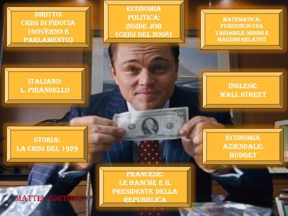 Mattia Tortora Economia politica: Inside job (Crisi del 2008) Diritto: