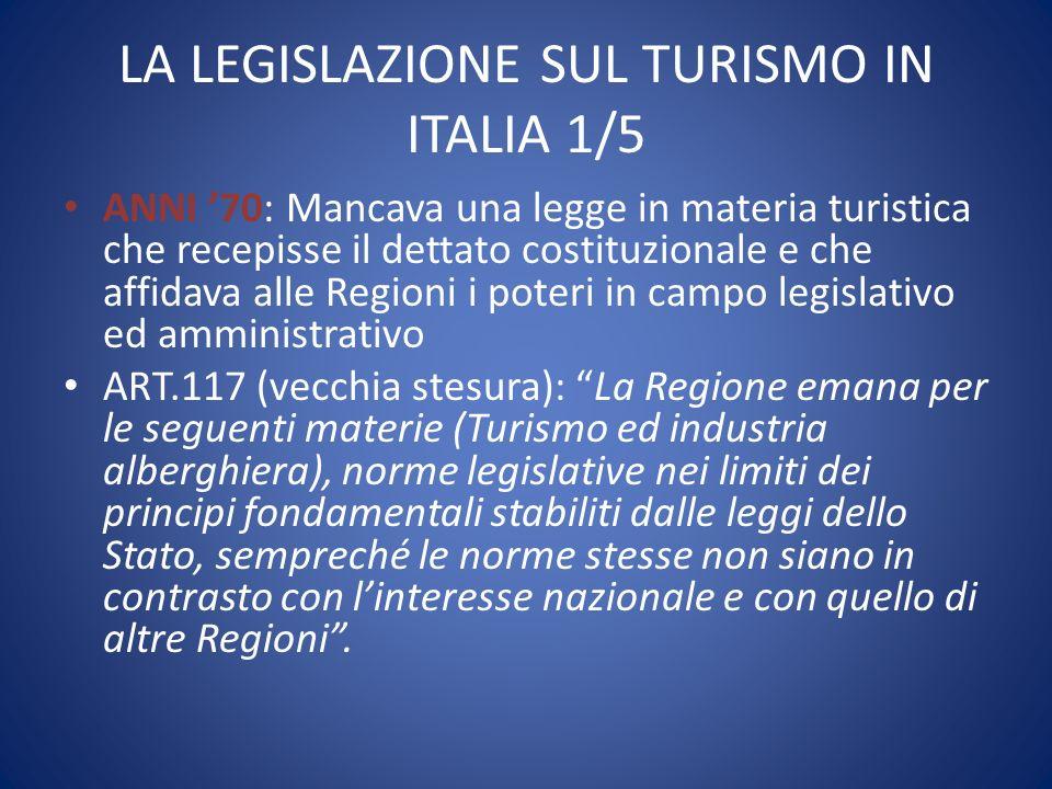 LA LEGISLAZIONE SUL TURISMO IN ITALIA 1/5
