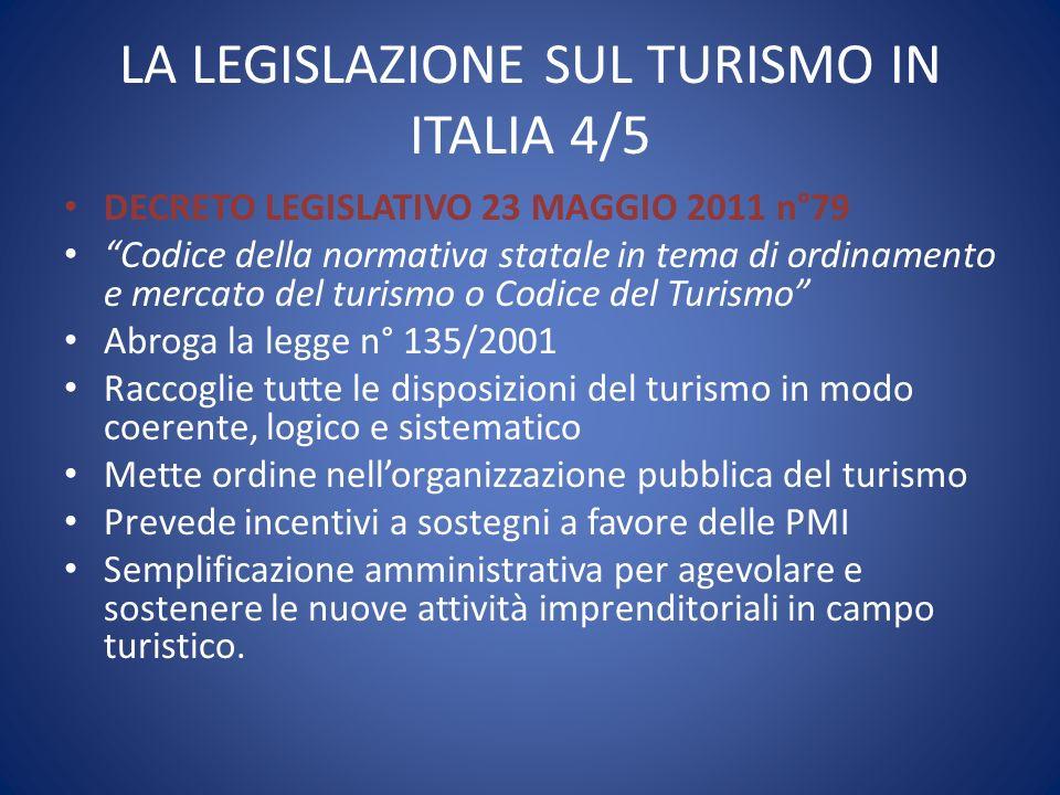 LA LEGISLAZIONE SUL TURISMO IN ITALIA 4/5