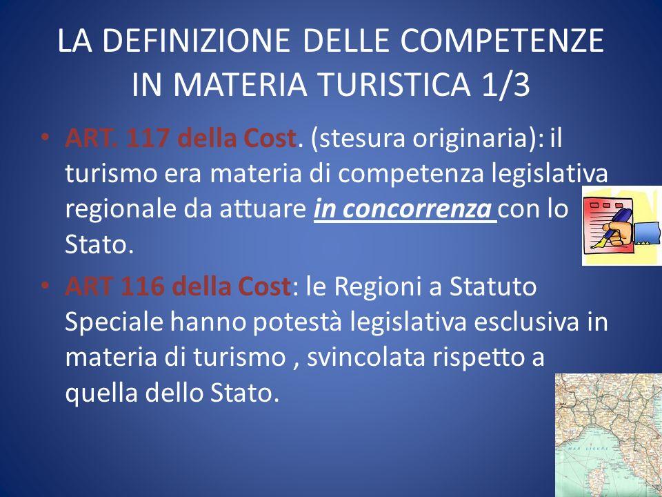LA DEFINIZIONE DELLE COMPETENZE IN MATERIA TURISTICA 1/3