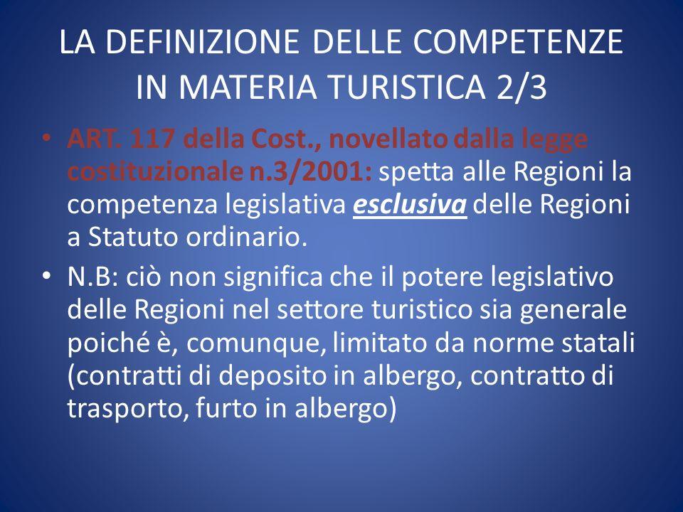 LA DEFINIZIONE DELLE COMPETENZE IN MATERIA TURISTICA 2/3
