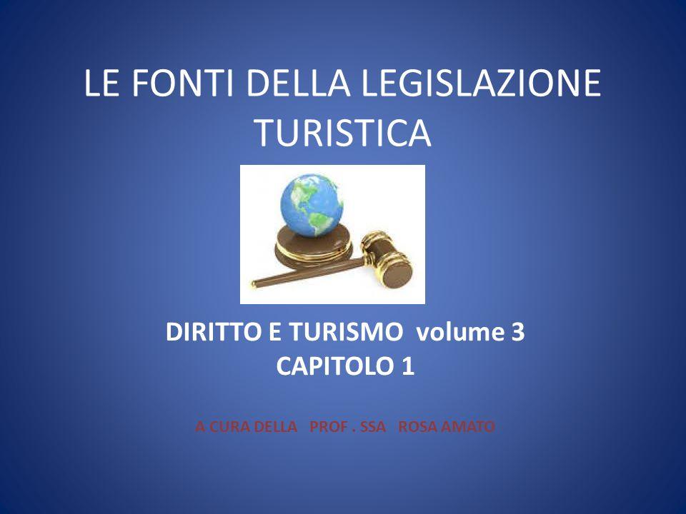 LE FONTI DELLA LEGISLAZIONE TURISTICA