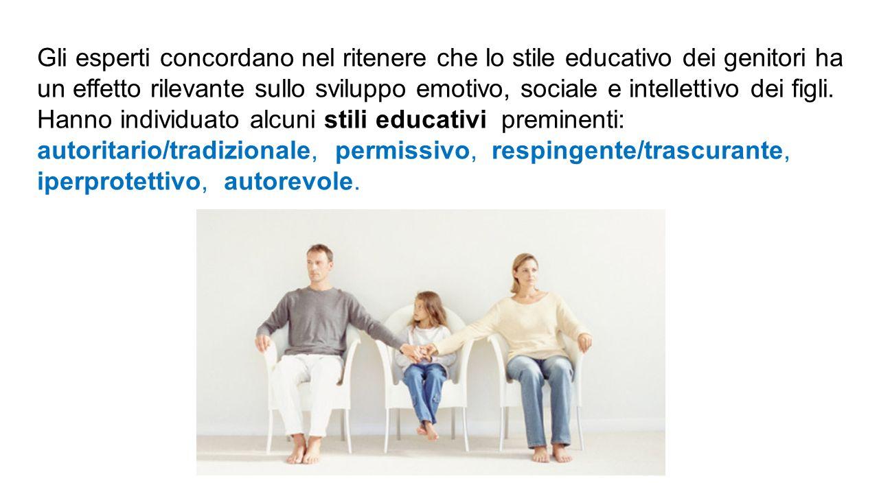 Gli esperti concordano nel ritenere che lo stile educativo dei genitori ha un effetto rilevante sullo sviluppo emotivo, sociale e intellettivo dei figli. Hanno individuato alcuni stili educativi preminenti: