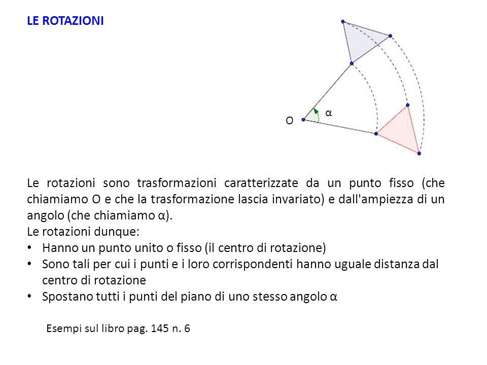 Hanno un punto unito o fisso (il centro di rotazione)