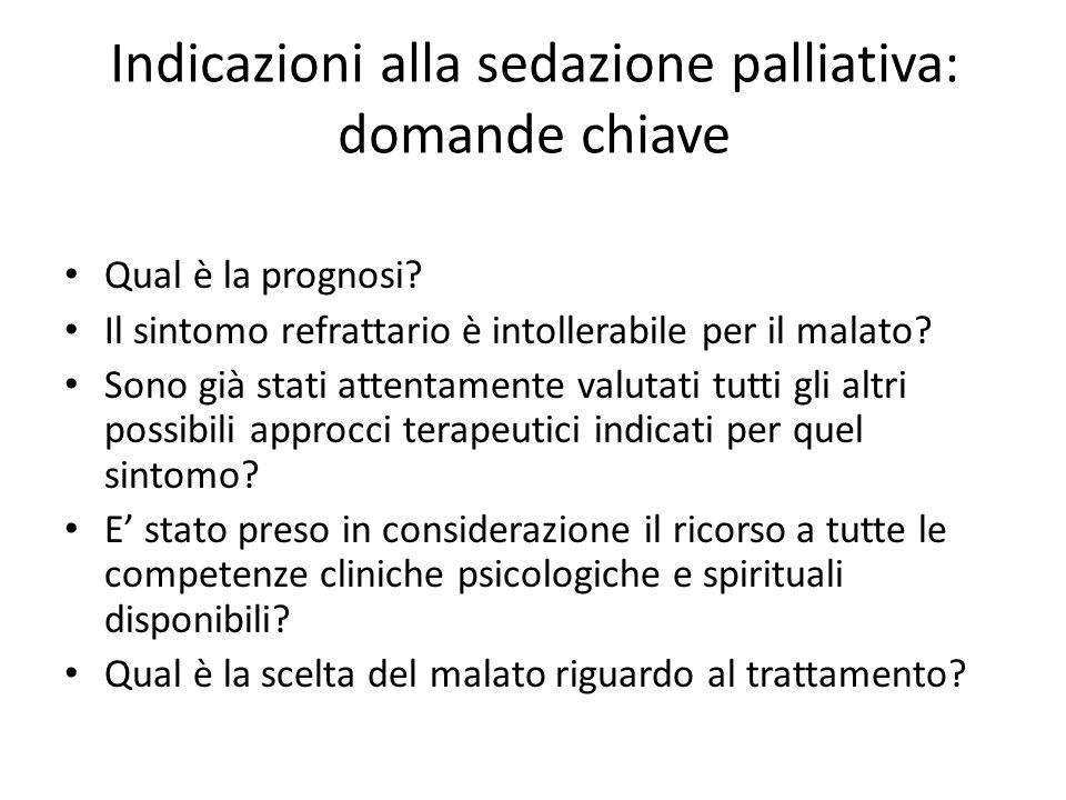 Indicazioni alla sedazione palliativa: domande chiave
