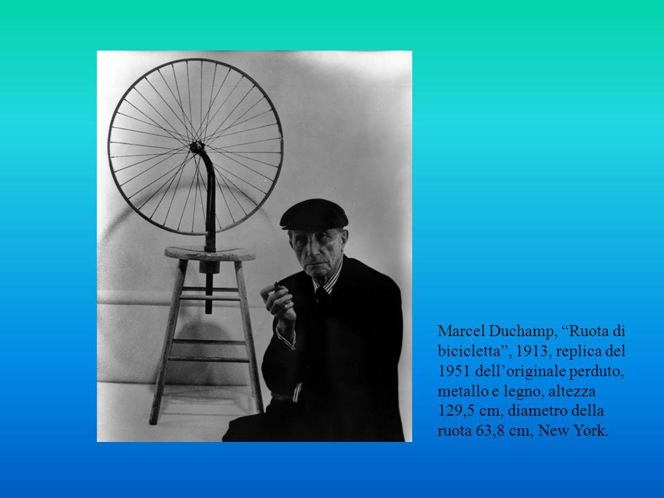 Marcel Duchamp, Ruota di bicicletta , 1913, replica del 1951 dell'originale perduto, metallo e legno, altezza 129,5 cm, diametro della ruota 63,8 cm, New York.