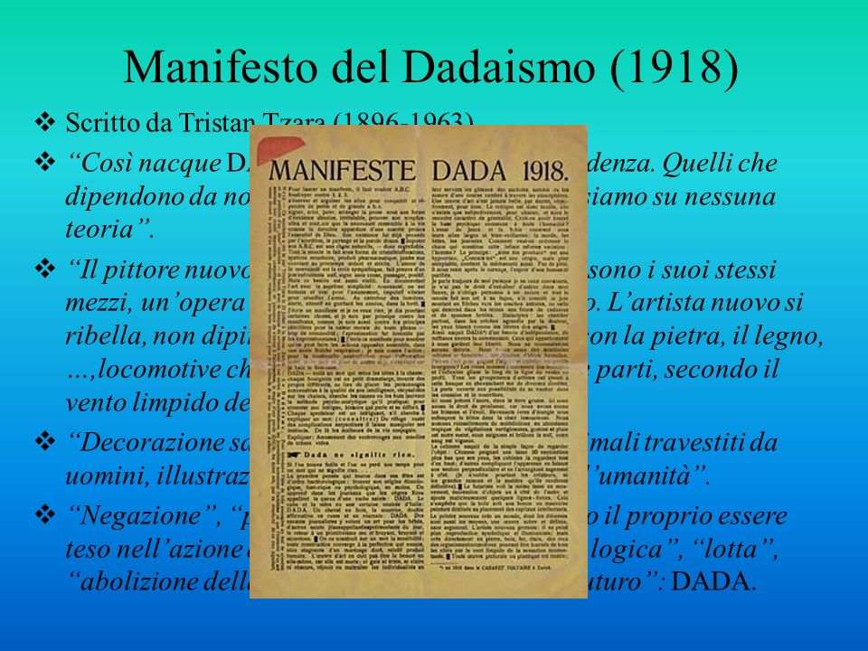 Manifesto del Dadaismo (1918)