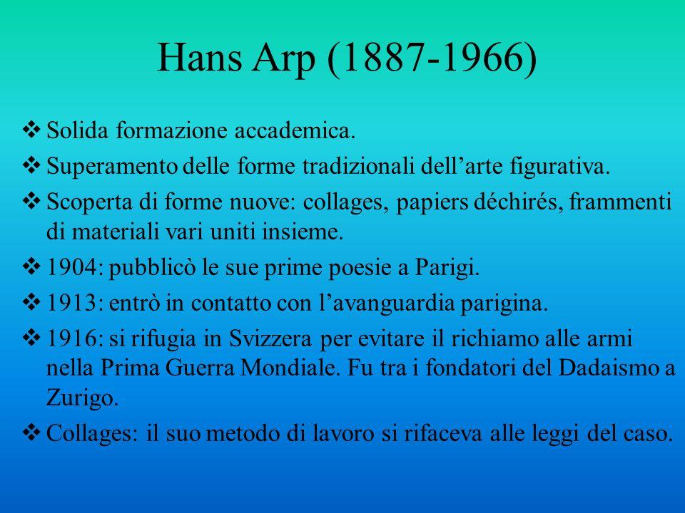 Hans Arp (1887-1966) Solida formazione accademica.