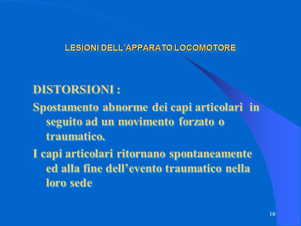 LESIONI DELL'APPARATO LOCOMOTORE