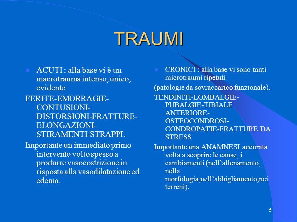 TRAUMI ACUTI : alla base vi è un macrotrauma intenso, unico, evidente.