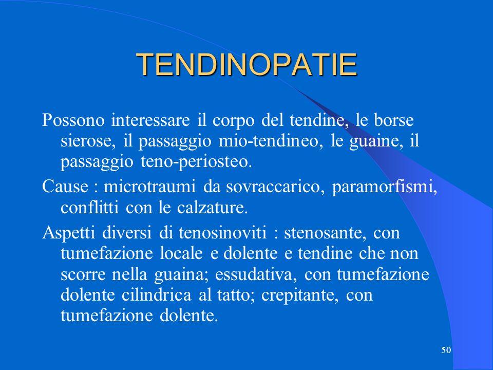 TENDINOPATIE Possono interessare il corpo del tendine, le borse sierose, il passaggio mio-tendineo, le guaine, il passaggio teno-periosteo.