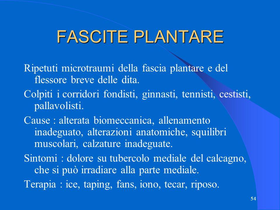 FASCITE PLANTARE Ripetuti microtraumi della fascia plantare e del flessore breve delle dita.