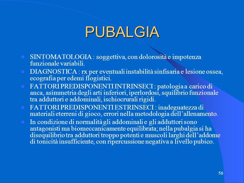 PUBALGIA SINTOMATOLOGIA : soggettiva, con dolorosità e impotenza funzionale variabili.