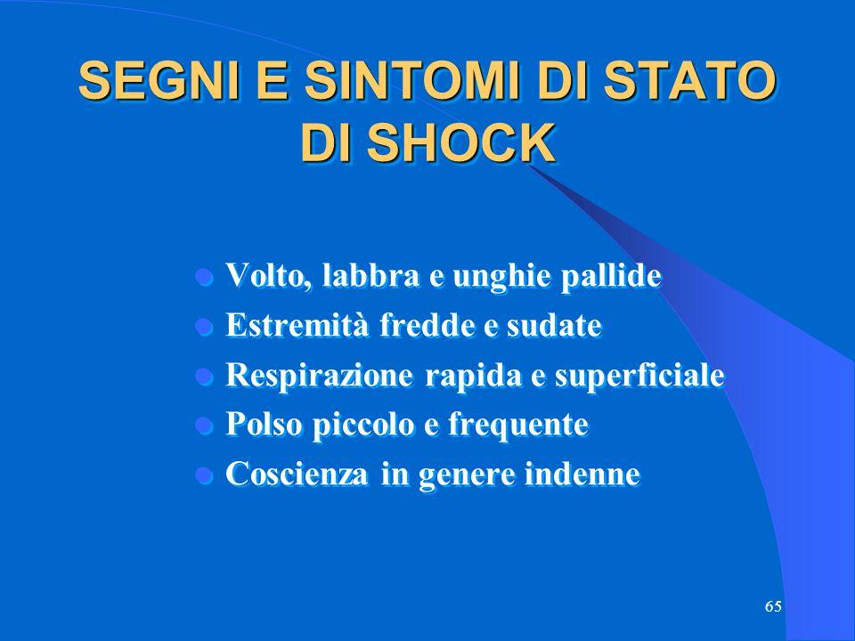 SEGNI E SINTOMI DI STATO DI SHOCK