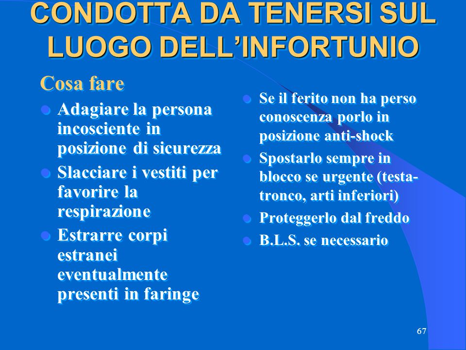 CONDOTTA DA TENERSI SUL LUOGO DELL'INFORTUNIO