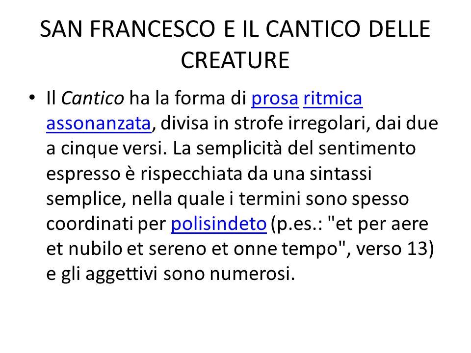 SAN FRANCESCO E IL CANTICO DELLE CREATURE