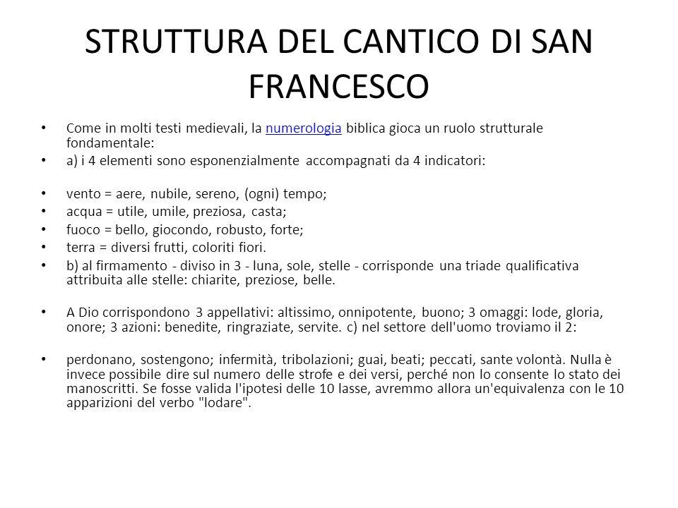 STRUTTURA DEL CANTICO DI SAN FRANCESCO