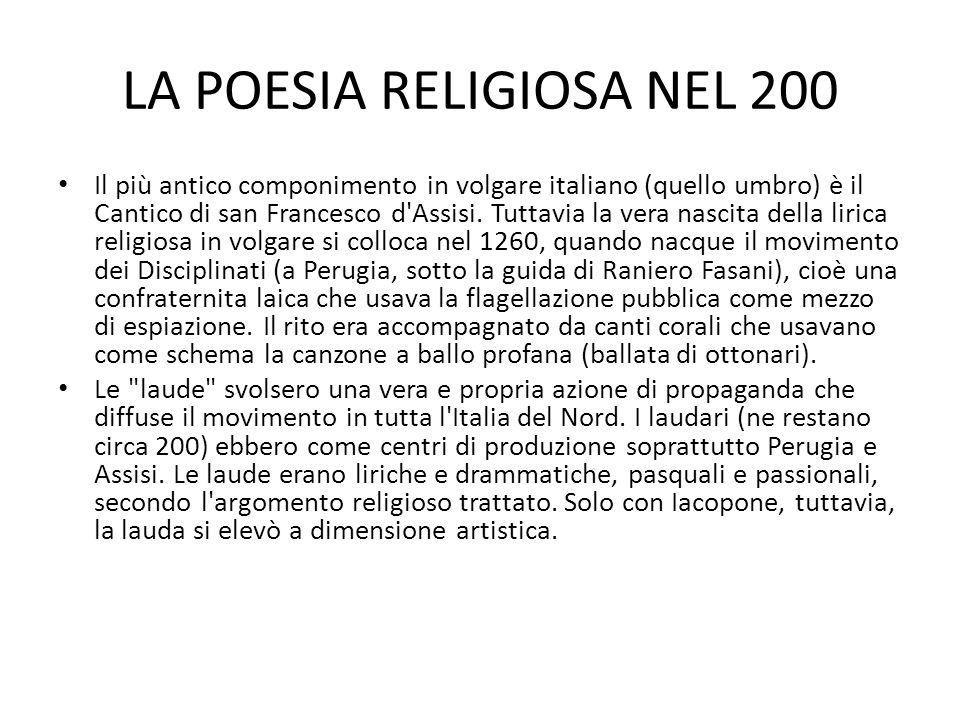 LA POESIA RELIGIOSA NEL 200