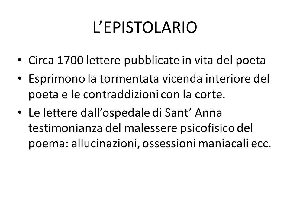 L'EPISTOLARIO Circa 1700 lettere pubblicate in vita del poeta