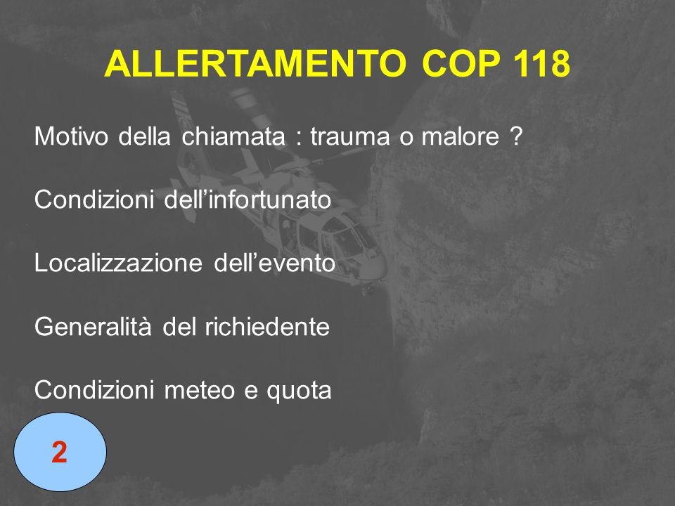 ALLERTAMENTO COP 118 2 Motivo della chiamata : trauma o malore
