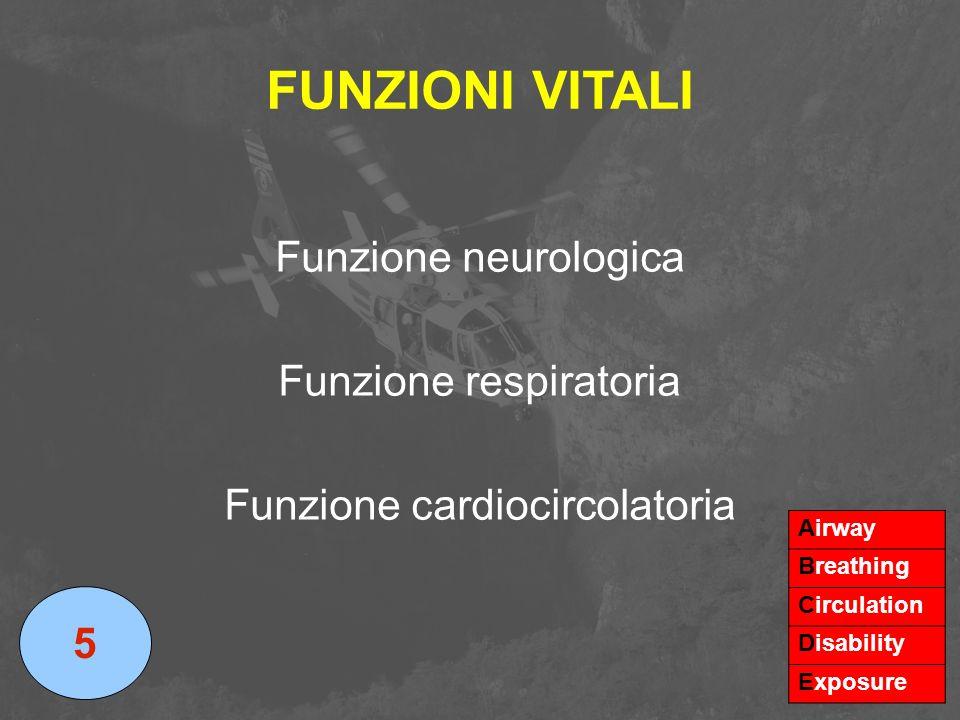 FUNZIONI VITALI Funzione neurologica Funzione respiratoria